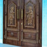 Двери из массива дуба с резьбой