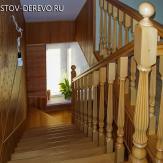 Лестница деревянная в доме с ограждением. Бук