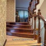 Отделка лестницы из бетона в Новочеркасске. Бук тонированный